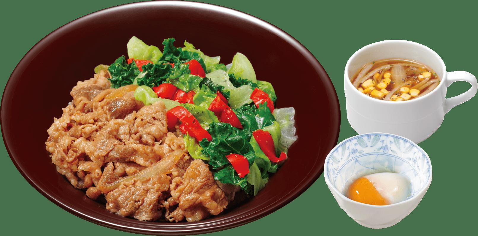 ケールレタス牛丼